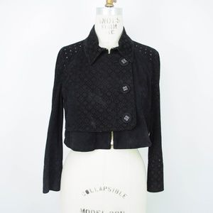 Joseph 100% Goat Suede Cropped Jacket Black